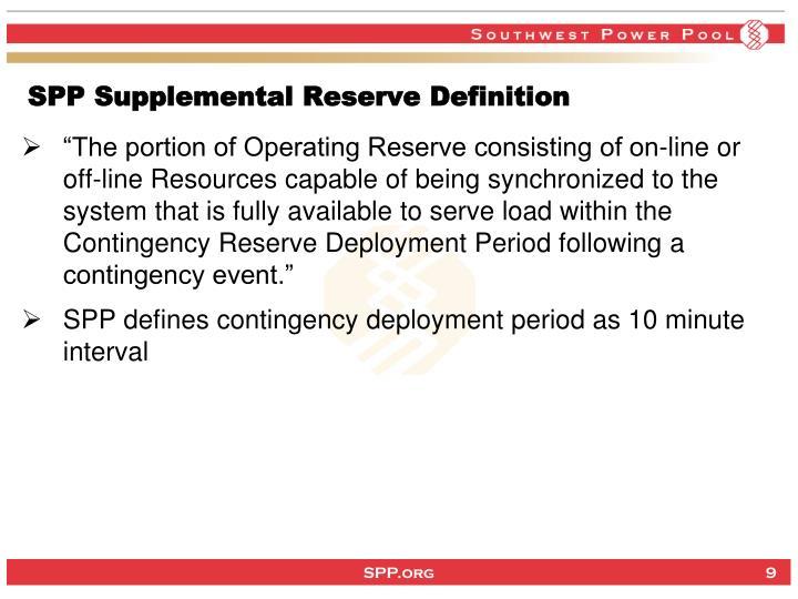 SPP Supplemental Reserve Definition