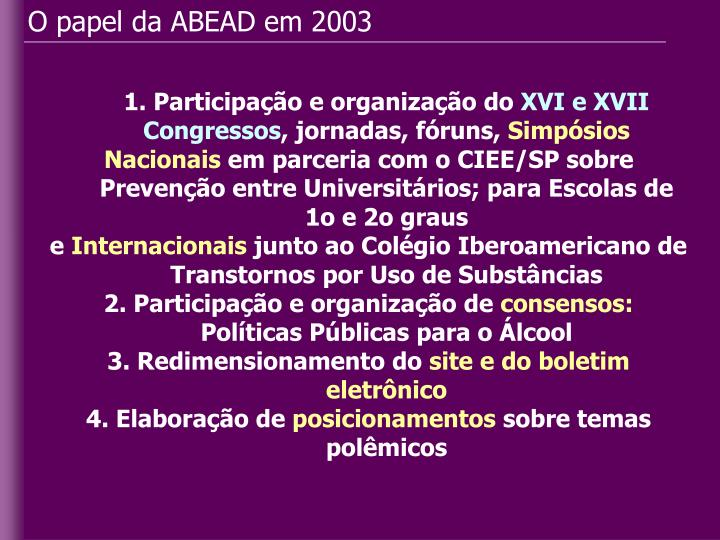 O papel da ABEAD em 2003