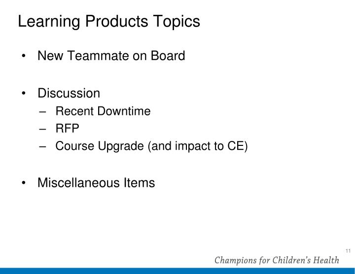 Learning Products Topics
