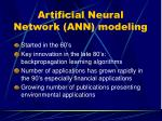artificial neural network ann modeling