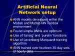 artificial neural network setup