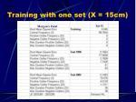 training with one set x 15cm