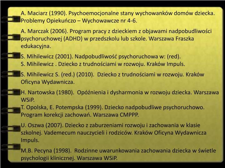 A. Maciarz (1990).