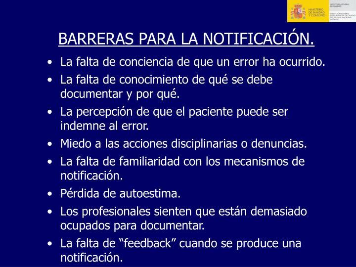 BARRERAS PARA LA NOTIFICACIÓN.