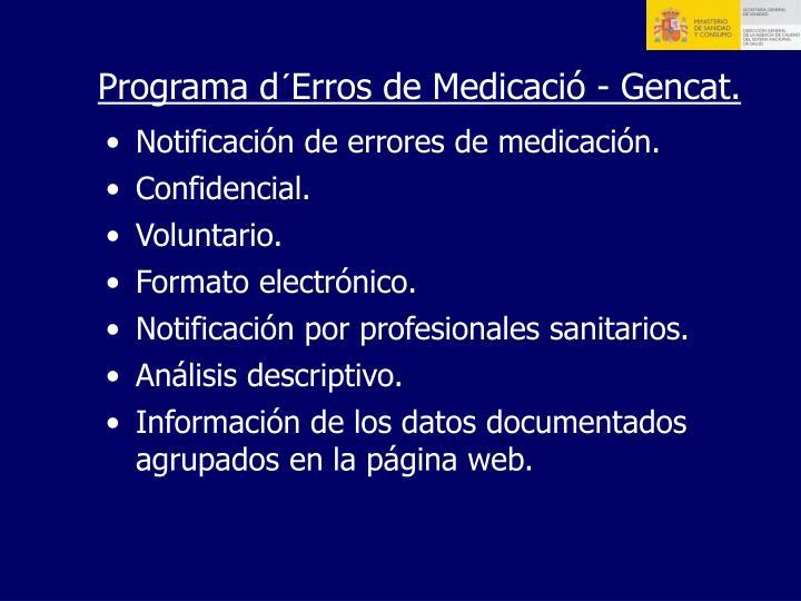 Programa d´Erros de Medicació - Gencat.