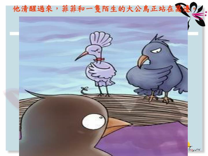 他清醒過來,菲菲和一隻陌生的大公鳥正站在窩邊。
