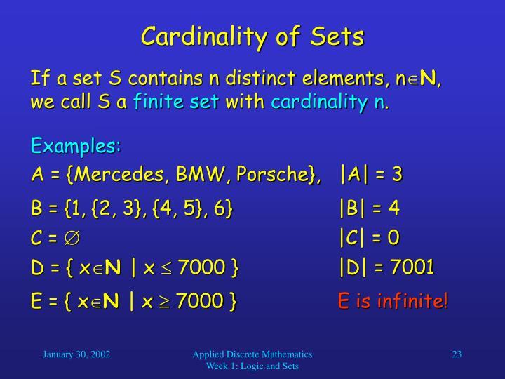 Cardinality of Sets