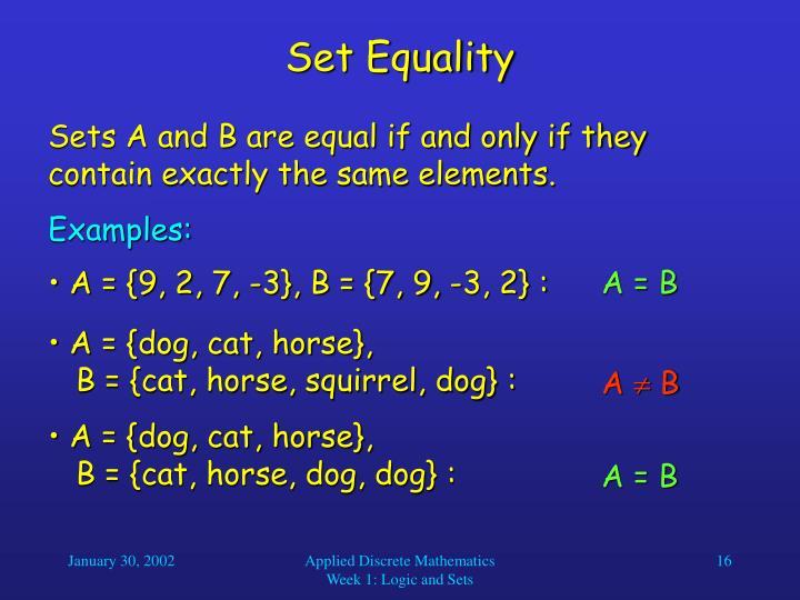 Set Equality