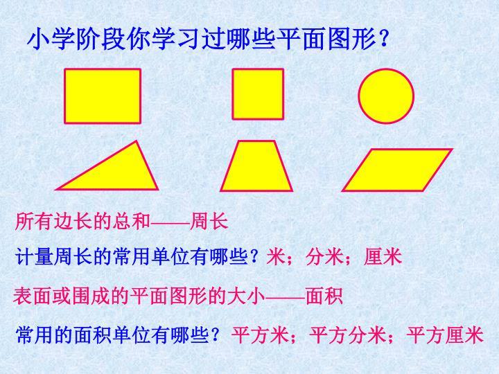 小学阶段你学习过哪些平面图形?