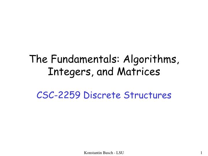 the fundamentals algorithms integers and matrices n.
