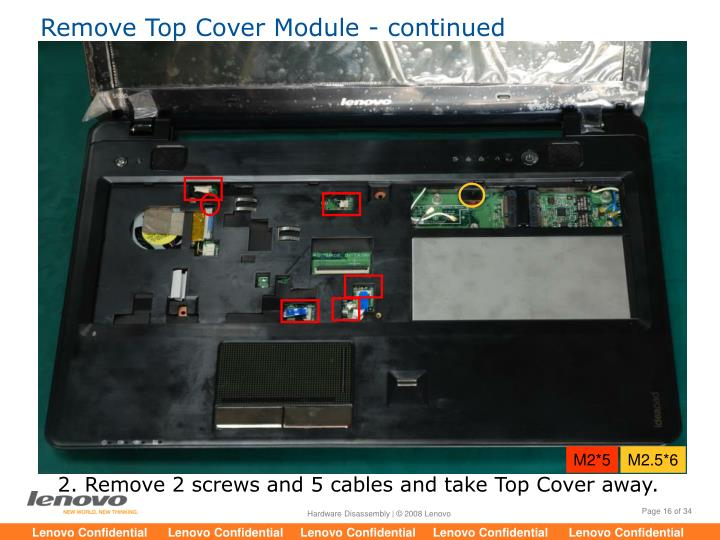Remove Top Cover Module - continued