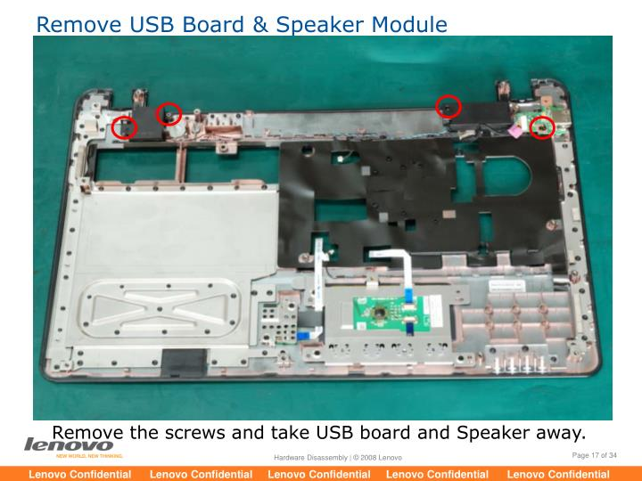 Remove USB Board & Speaker Module