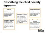 describing the child poverty types