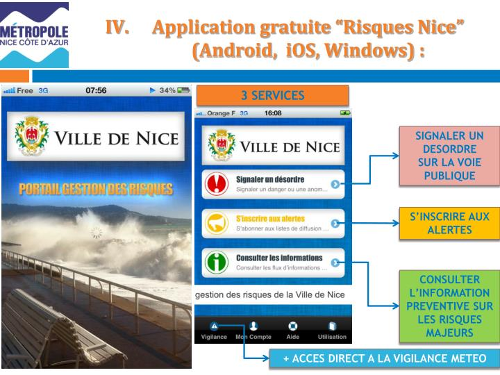 Application gratuite risques nice android ios windows