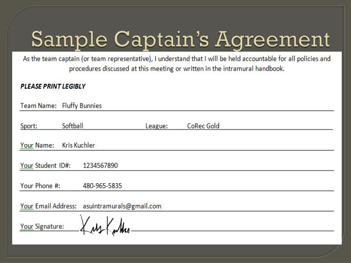 sample captain s agreement n.