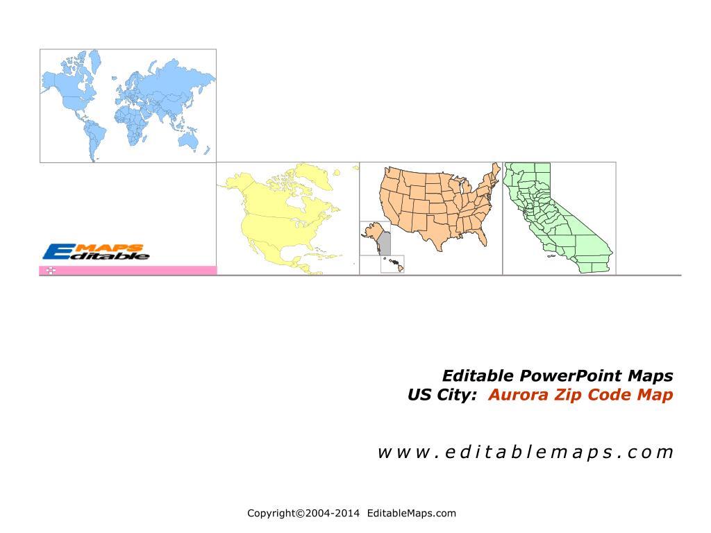 ppt editable powerpoint maps us city aurora zip code map