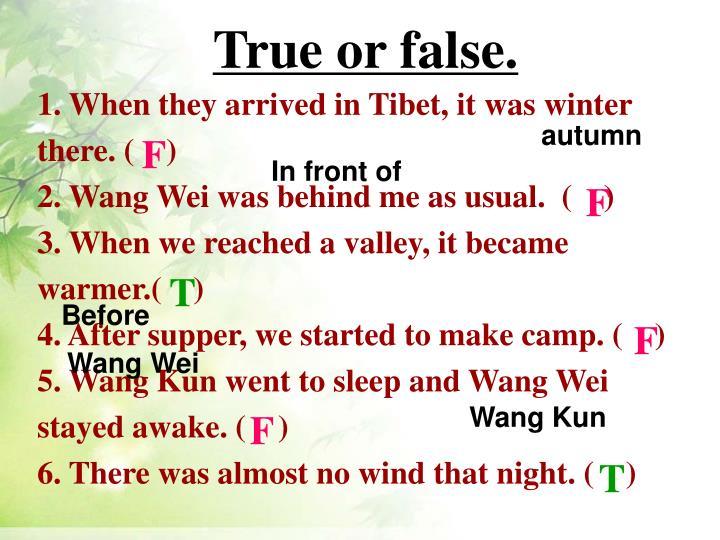 True or false.
