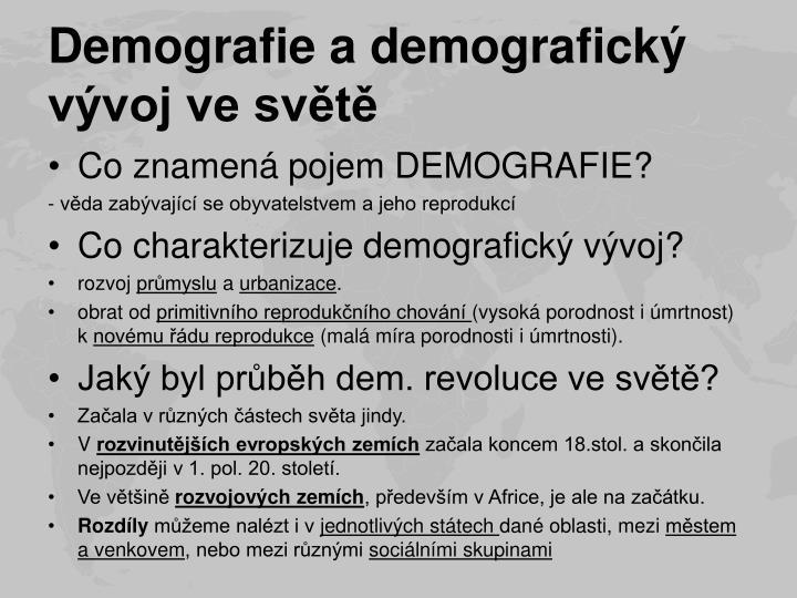 Demografie a demografický vývoj ve světě