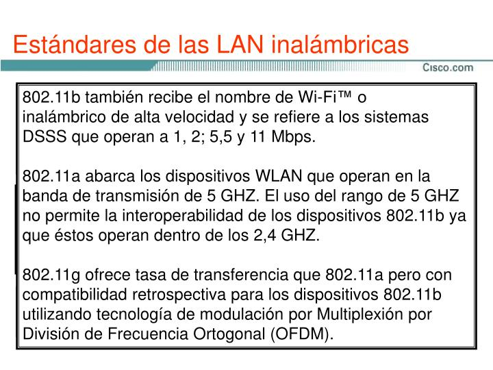 Estándares de las LAN inalámbricas
