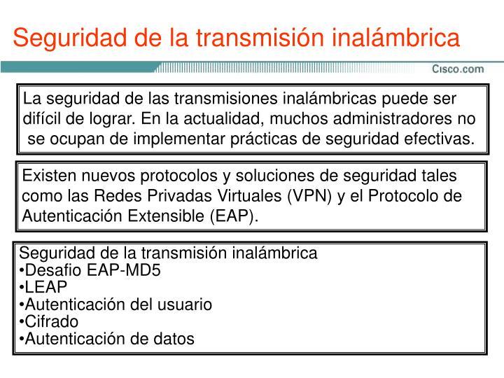Seguridad de la transmisión inalámbrica