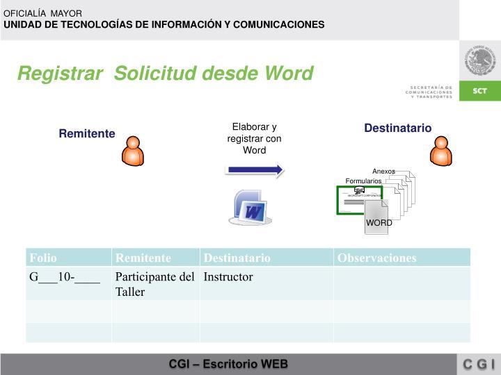 Registrar  Solicitud desde Word