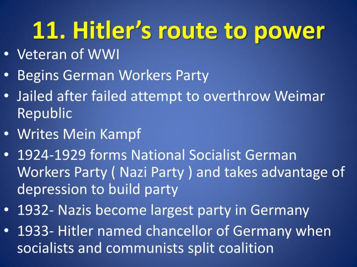 11. Hitler's route to power