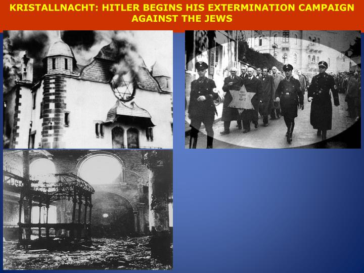 KRISTALLNACHT: HITLER BEGINS HIS EXTERMINATION CAMPAIGN AGAINST THE JEWS