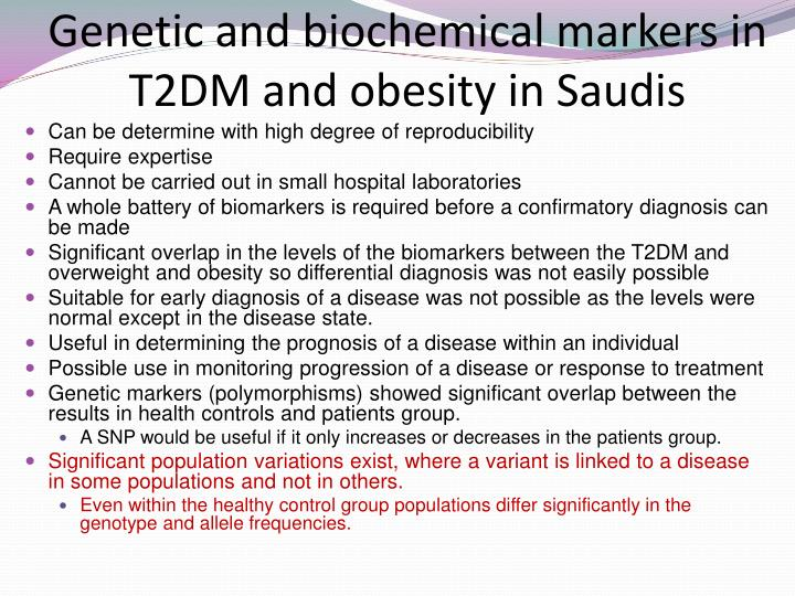 Genetic and biochemical markers in T2DM and obesity in Saudis
