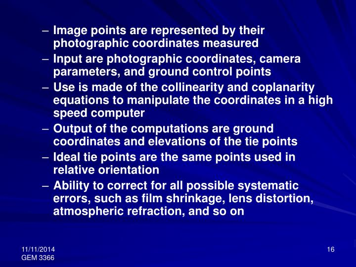 Image points are represented by their photographic coordinates measured
