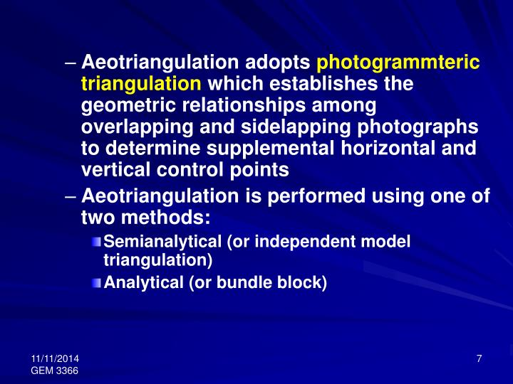 Aeotriangulation adopts