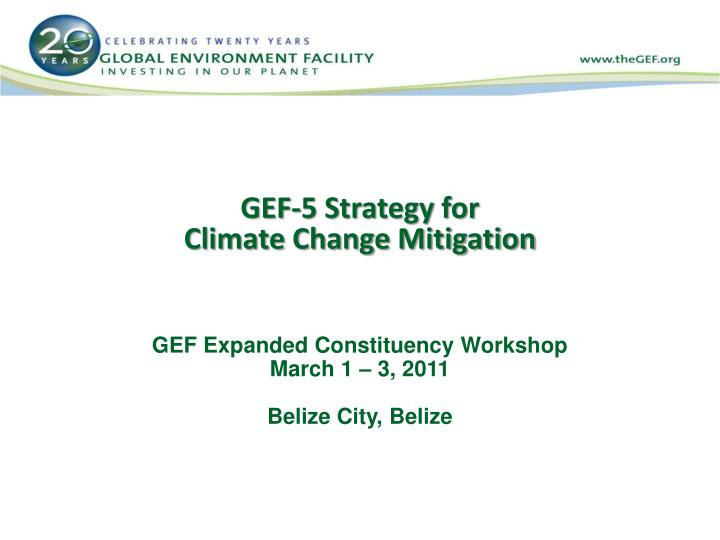Gef 5 strategy for climate change mitigation