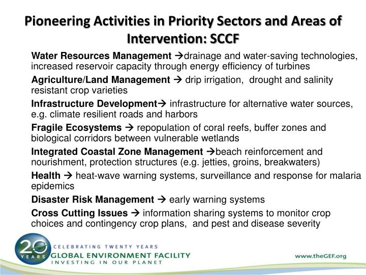 Pioneering Activities in Priority Sectors and Areas of Intervention: SCCF