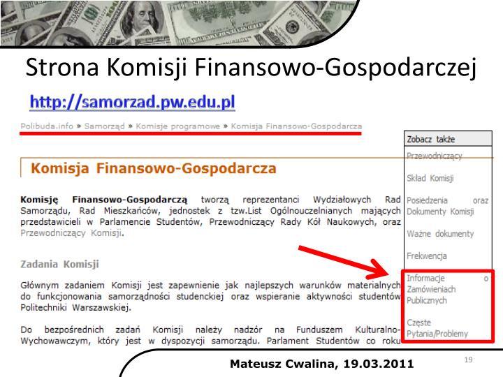 Strona Komisji Finansowo-Gospodarczej