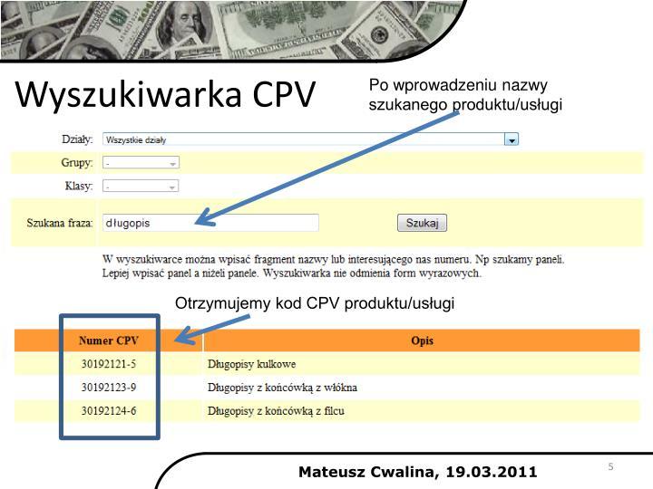 Wyszukiwarka CPV