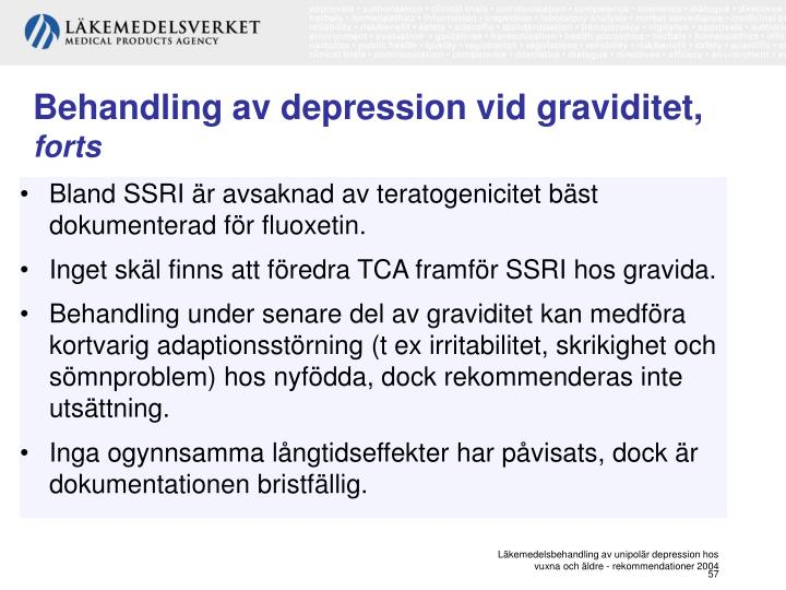 Behandling av depression vid graviditet,