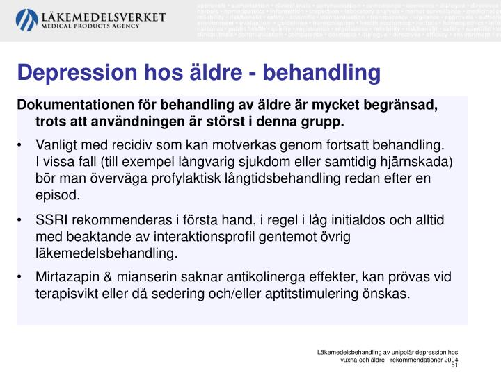 Depression hos äldre - behandling
