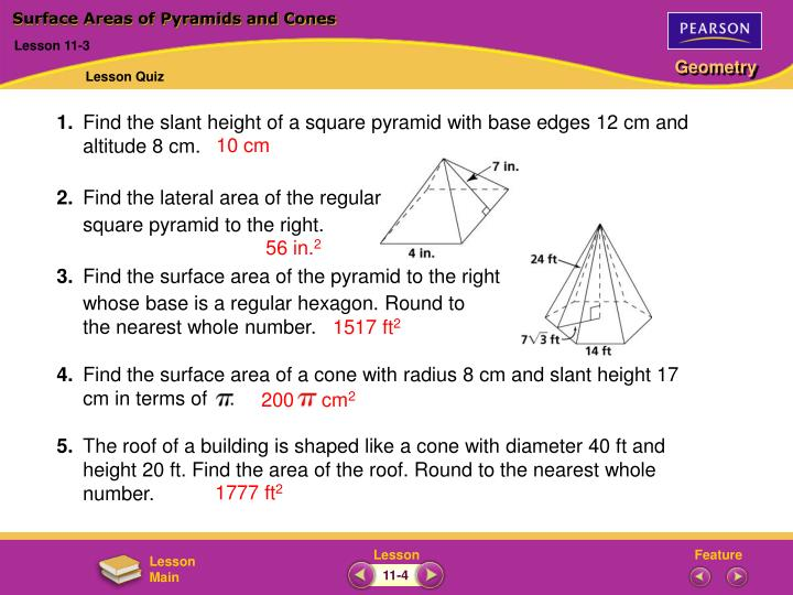 surface areas of pyramids and cones n.