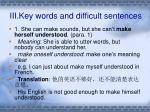 iii key words and difficult sentences
