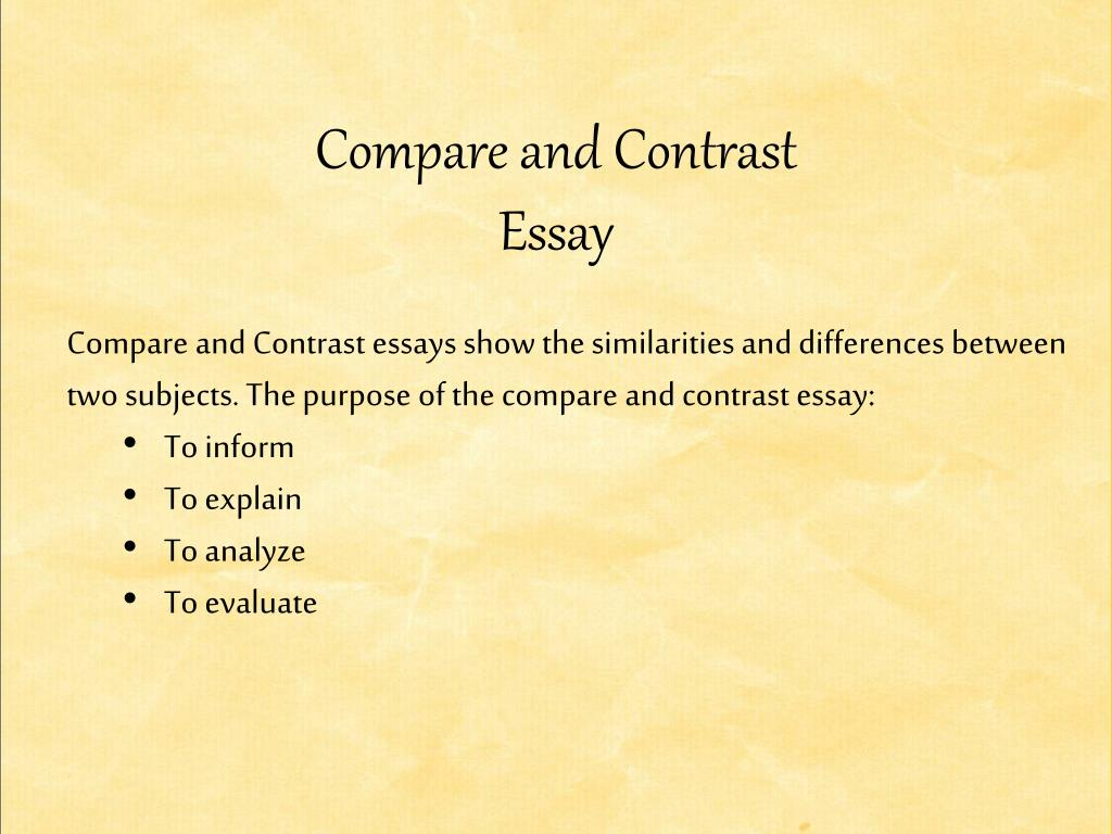 subjects for compare and contrast essays