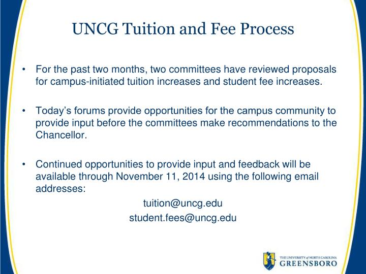 UNCG Tuition and Fee Process