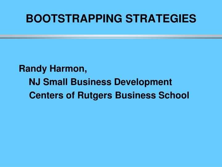 bootstrapping strategies n.