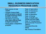 small business innovation research program sbir