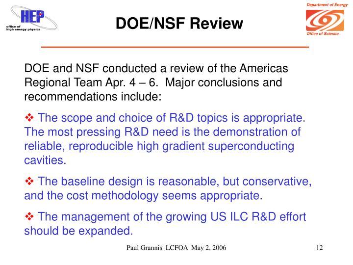 DOE/NSF Review