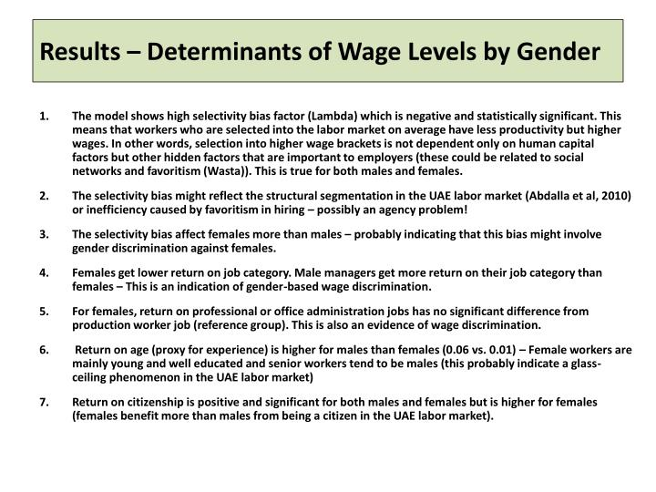 Results – Determinants of Wage Levels by Gender