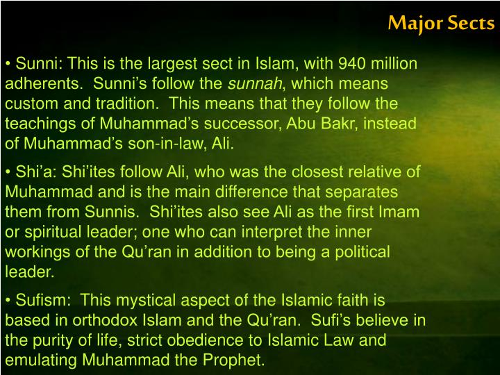 Major Sects