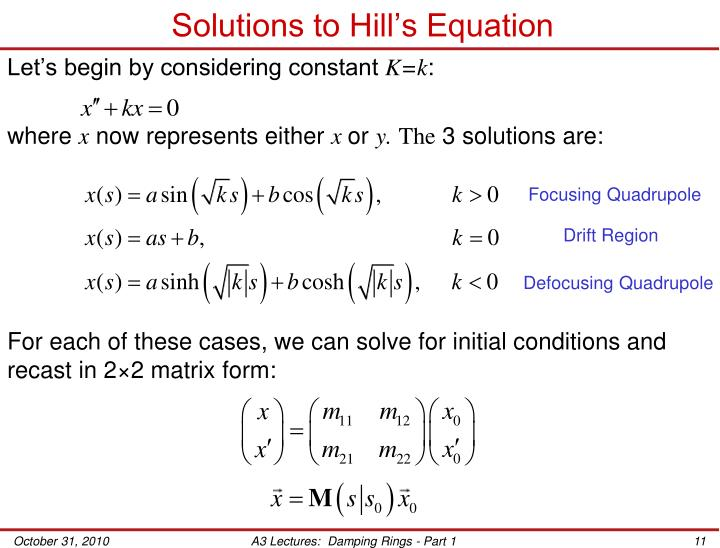 Solutions to Hill's Equation