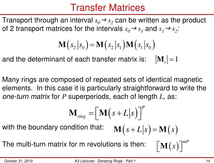 Transfer Matrices