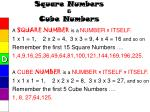 square numbers cube numbers