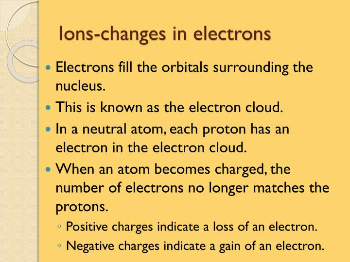Ions-changes in electrons