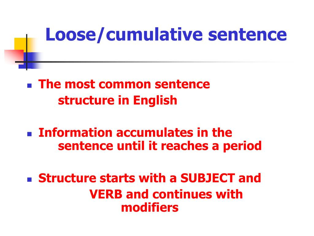 Loose/cumulative sentence presentation for 9th 12th grade.